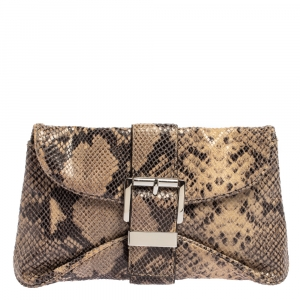 Michael Kors Dark Sand Python Effect Leather Heidi Clutch