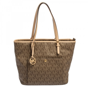 MICHAEL Michael Kors Brown/Beige Signature Coated Canvas And Leather Jet Set Tote