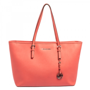 Michael Kors Coral Pink Saffiano Leather Large Jet Set Travel Tote