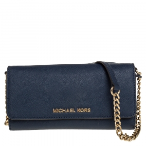 Michael Kors Blue Textured Leather Jet Set Chain Wallet