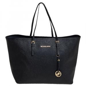 حقيبة سفر توتس مايكل كورس جيت سيت جلد أسود كبيرة