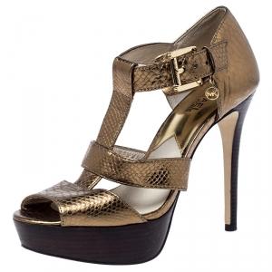 Michael Kors Metallic Gold Python Embossed Leather Platform Sandals Size 37.5