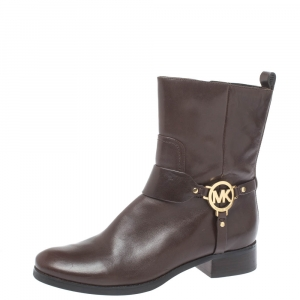 MICHAEL Michael Kors Brown Leather Fulton Ankle Boots Size 39