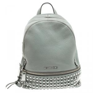 Michael Kors Grey Leather Small Studded Rhea Backpack