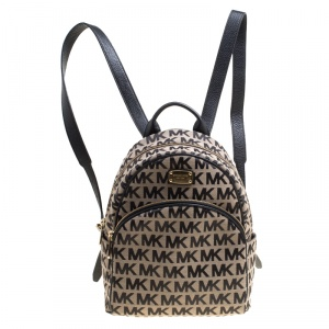 Michael Kors Beige/Black Signature Canvas and Leather Abbey Backpack