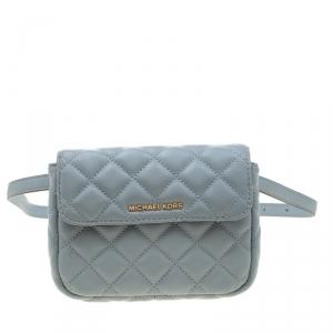 Michael Kors Light Blue Quilted Leather Sloan Belt Bag