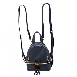 Michael Kors Blue Leather Mini Rhea Backpack