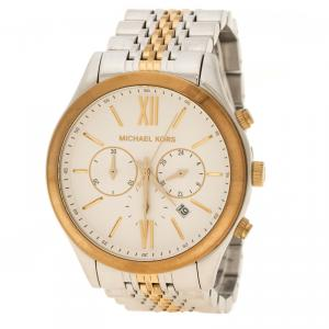 Michael Kors White Gold Tone Stainless Steel Chronograph MK8306 Women's Wristwatch 45 mm