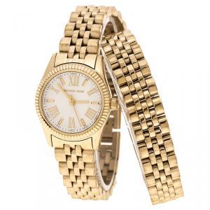Michael Kors White Dial Yellow Gold Plated Steel Lexington MK3269 Women's Wristwatch 26 mm