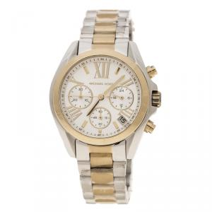 Michael Kors Silver White Two Tone Stainless Steel Bradshaw MK5974 Chronograph Women's Wristwatch 37 mm