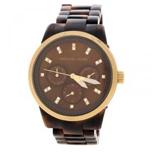 Michael Kors Brown Mother of Pearl Tortoise Shell Acrylic Gold Plated Steel Jet Set Mk5038 Women's Wristwatch 37 mm