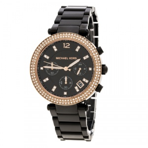 Michael Kors Black Stainless Steel and Rose Gold Plated Steel Parker MK5885 Women's Wristwatch 39 mm