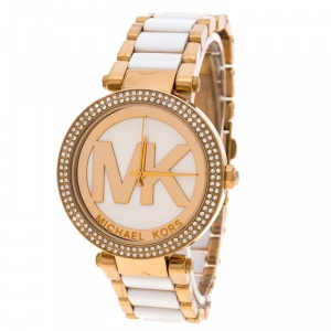 Michael Kors White Dial Yellow Gold Plated Acetate Parker MK6313 Women's Wristwatch 39 mm