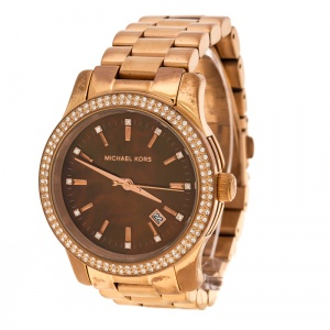 Michael Kors Brown Mother of Pearl Rose Gold Plated Steel Runway MK5494 Women's Wristwatch 39 mm