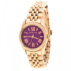 Michael Kors Purple Rose Gold Plated MK3273 Petite Lexington Women's Wristwatch 26 mm