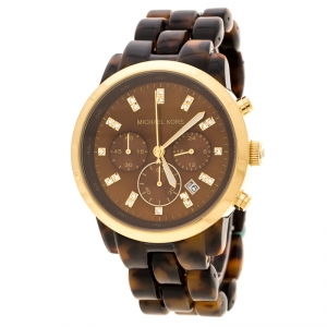 Michael Kors Brown Acrylic Gold Plated Stainless Steel MK5216 Women's Wristwatch 43 mm