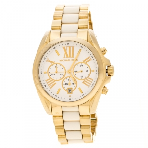 Michael Kors Silver White Yellow Gold  Plated Steel Ceramic Bradshaw MK5743 Women's Wristwatch 43 mm