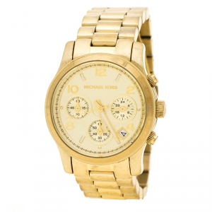 Michael Kors Gold Tone Stainless Steel Runway MK5055 Chronograph Women's Wristwatch 38 mm