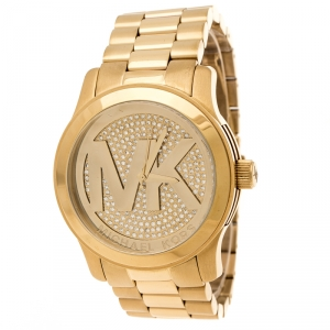 Michael Kors Pave Crystal Gold Tone Stainless Steel Runway MK5706 Women's Wristwatch 45 mm