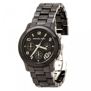 Michael Kors Black Ceramic Stainless Steel MK5162 Women's Wristwatch 39 mm