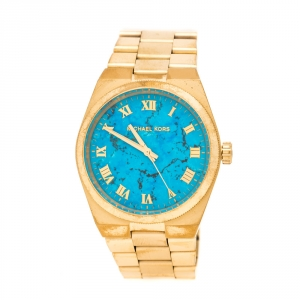 Michael Kors Turquoise Yellow Gold Plated Stainless Steel Channing MK5894 Women's Wristwatch 38 mm