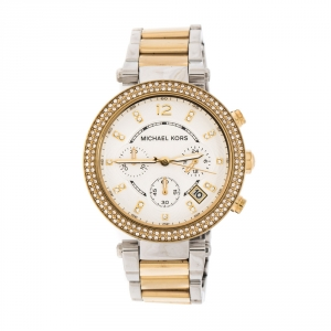 Michael Kors Silver White Dial Two-Tone Stainless Steel Parker MK5626 Women's Wristwatch 39 mm