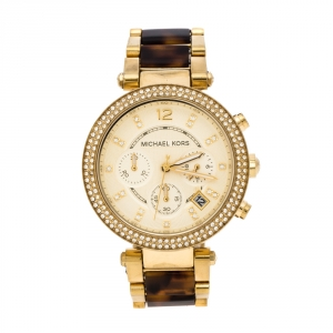 Michael Kors Yellow Gold Plated Stainless Steel Tortoise Parker MK5688 Women's Wristwatch 39 mm