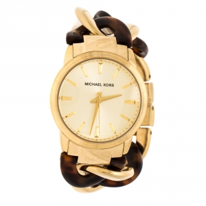 Michael Kors Yellow Gold Plated Stainless Steel Tortoise Twist Chain Link MK4279 Women's Wristwatch 35 mm