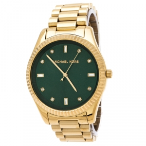 Michael Kors Emerald Green Yellow Gold Plated Stainless Steel Blake MK3226 Women's Wristwatch 41.50 mm