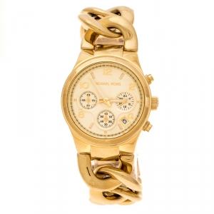 Michael Kors Yellow Gold Plated Stainless Steel Runway Twist MK3131 Women's Wristwatch 37 mm