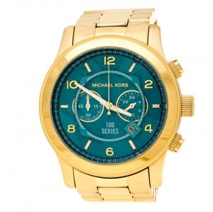 Michael Kors Aqua Blue Yellow Gold Plated Stainless Steel Watch Hunger Stop Runway MK8315 Women's Wristwatch 43 mm