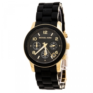 Michael Kors Black Gold Plated Stainless Steel Black Silicon Rubber Runway MK5191 Women's Wristwatch 38 mm