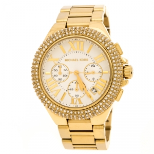 Michael Kors White Yellow Gold Plated Stainless Steel Bradshaw MK5657 Women's Wristwatch 45 mm