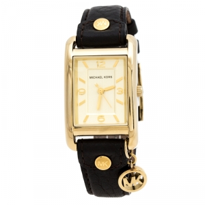 Michael Kors Yellow Gold Plated Stainless Steel Leather Jet Set MK2166 Women's Wristwatch 26 mm