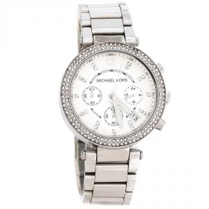 Michael Kors Silver White Stainless Steel Parker MK5353 Women's Wristwatch 39 mm