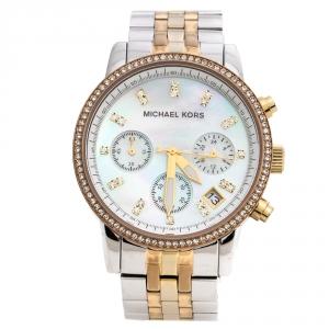 Michael Kors Mother Of Pearl Tri-Tone Ritz MK5650 Women's Wristwatch 36 mm