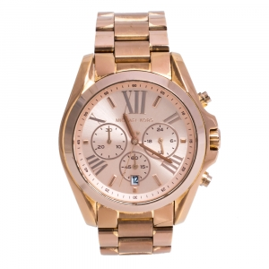 Michael Kors Rose Gold Tone Stainless Steel Bradshaw MK5503 Women's Wristwatch 43 mm