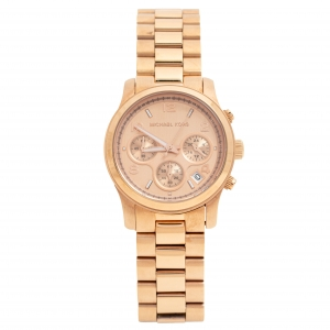 Michael Kors Rose Gold Tone Stainless Steel Runway MK5128 Women's Wristwatch 38MM