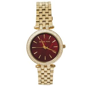 Michael Kors Garnet MOP Gold Tone Stainless Steel MK3583 Darci Quartz Women's Wristwatch 33 MM