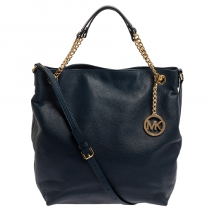Michael Kors Navy Blue Leather Large Chain Jet Set Tote
