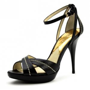 MICHAEL Michael Kors Black Leather Eleni Platform Ankle Strap Sandals Size 37.5