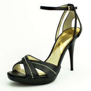 MICHAEL Michael Kors Black Leather Eleni Ankle Strap Sandals Size 38.5