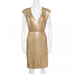 Michael Michael Kors Gold Sequined Wrap Dress S used