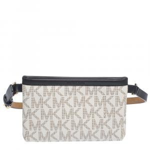 MICHAEL Michael Kors White/Black Signature Coated Canvas and Leather Belt Bag