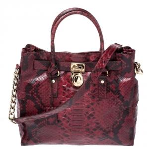 حقيبة يد مايكل مايكل كورس Hamilton جلد نقش ثعبان سوداء/ حمراء