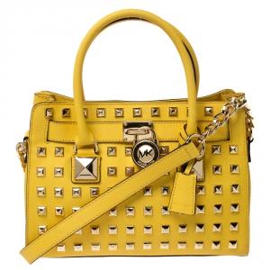حقيبة يد مايكل مايكل كورس Hamilton مرصعة جلد أصفر