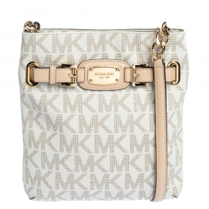 Michael Michael Kors White Signature Coated Canvas and Leather Crossbody Bag
