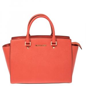 MICHAEL Michael Kors Fire Orange Leather Large Selma Satchel