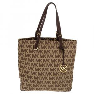 MICHAEL Michael Kors Brown Canvas and Leather Jet Set North South Logo Tote