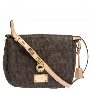 Michael Michael Kors Brown Signature Coated Canvas and Leather Crossbody Bag